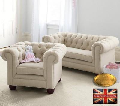 Chesterfield sofa 1 os Pitch z materialu bezowa