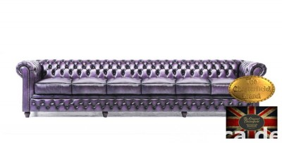 Chesterfield skorzana sofa 6 os Fiolet