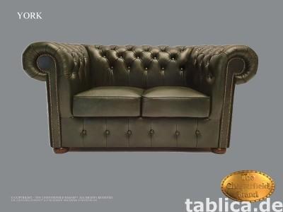 Chesterfield sofa 2 os York zielen skora