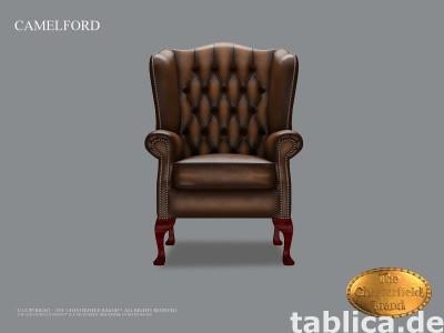 Chesterfield skorzany fotel Camelford