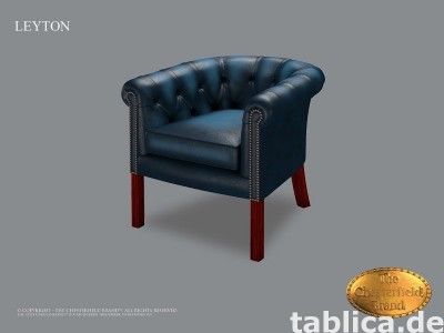 Chesterfield skorzane krzeslo Leyton
