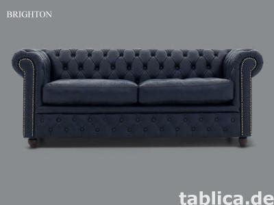 Chesterfield sofa 3 os Yacht niebieska skora miekka