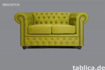 Chesterfield sofa 2 os Bahama 17 zielona z materialu