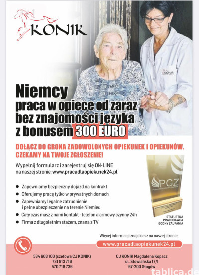 ZAOPIEKUJ SIĘ SAMOTNĄ SENIORKĄ 82 LATA Z MONACHIUM - 1400€