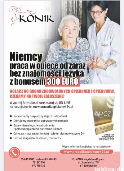 PRACA W OPIECE NA TERENIE LUKSEMBURGA OD 20.08 1500€