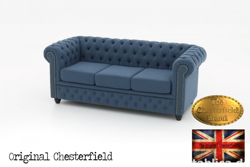 Chesterfield kanapa 3os Pitch z materialu 3