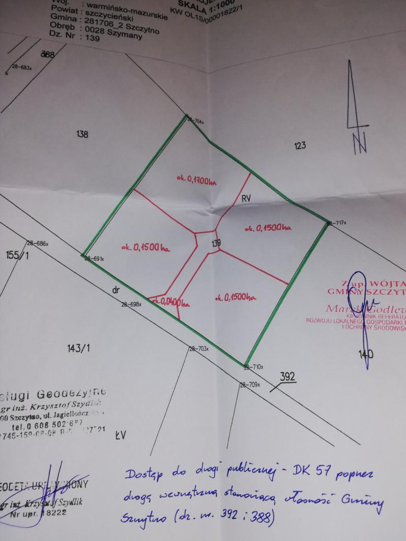 Mazury- kompleks czterech dzialek z warunkami zabudowy.  4